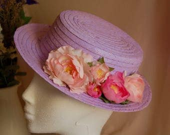 Canotier Julia. Wedding guest. Lilac painted hat.