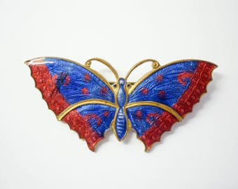 1930s Red and Blue Butterfly, guilloche enamelled brooch