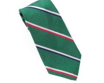 1980's vintage Rooster green striped silk repp neck tie for Albert J. Lussier