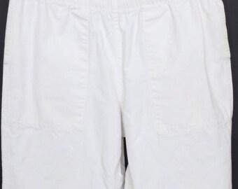 Size M - Vintage/Early Polo by Ralph Lauren white cotton duck pants, elastic waist