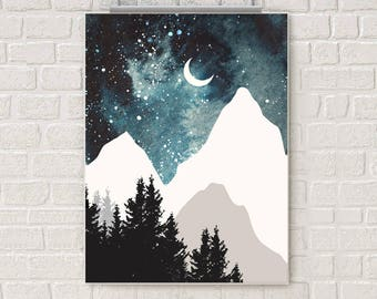 Mountain wall art, galaxy art print, forest watercolor poster, nature print, moon print, home wall decor, apartment wall art, stars, night