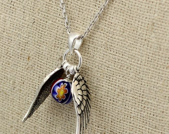 SS034- Millefiori Silver Quidditch-inspired small winged Murano Glass ball necklace