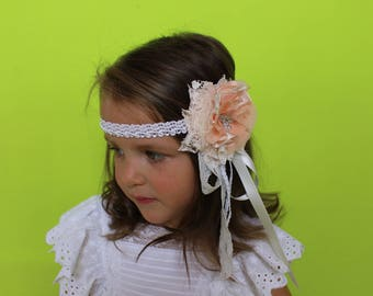 Peach blush headband,wedding First communion Headband,little girl Baby Toddler Flower Headband,Ivory cream headband,Vintage lace headband