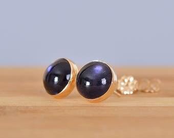 Iolite Stud Earrings, Iolite Earrings, 6mm, 8mm, 10mm, Blue Gemstone, Water Sapphire Earrings: Sterling Silver, Oxidized Silver, Gold Filled