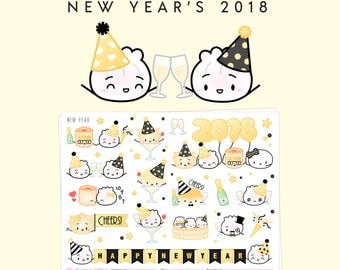 "New Year's Stickers - ""Happy 2018!"" [New Year's Stickers, 2018 Stickers, New Year's Deco, Decorative Stickers, Party Stickers] - S160"