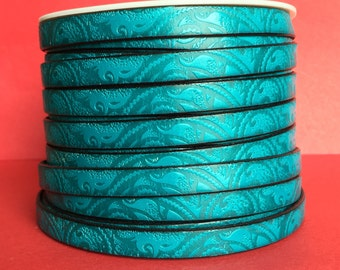 "MADE in EUROPE 24"" flat leather cord, embossed 10mm teal leather cord, engraved leather cord (503/10/08)"