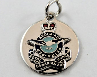 Enameled Royal Canadian Air Force Sterling Silver Charm or Pendent.