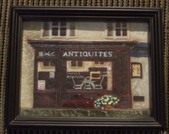 French Cafe Decor, French Antique Picture, French Street Picture, Store Sign, French Street Business Sign, Framed Artwork, Antiquites