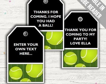 Tennis Party Favor Tags. Editable PDF. Printable. Instant Download.