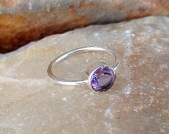 Natural Pink Amethyst Handmade Sterling Silver Ring - Pink Amethyst Ring - Pink Amethyst Round Cut Ring - Handmade Amethyst Ring - Gift Ring