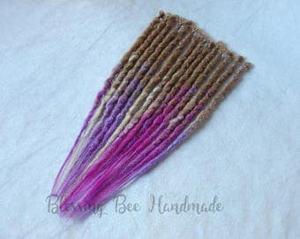 Purple and pink synthetic dreads, blonde dreadlocks, accent set single ended dread extensions, fantasy pixie hair, faux blonde dreadlocks