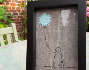 Little Dog With Balloon Framed Textile Art