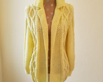 Vintage Handknit Cardigan Sweater, handknit sweater, yellow cardigan, size medium to large sweater, cable knit sweater, 1960s sweater