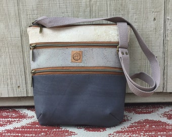 Cork, crossbody, triple zip, color block, bag, charcoal gray, vegan, ecofriendly
