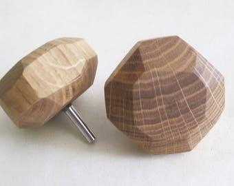 "Oak Wood Knob 2"", Modern Drawer Knob, Wooden Cabinet Pull, Rustic Furniture Handle"