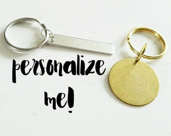 Personalized Keychain - Stamped Key Chain - Silver Keychain - Gold Keychain - Key Chain for Women - Keychain for Men