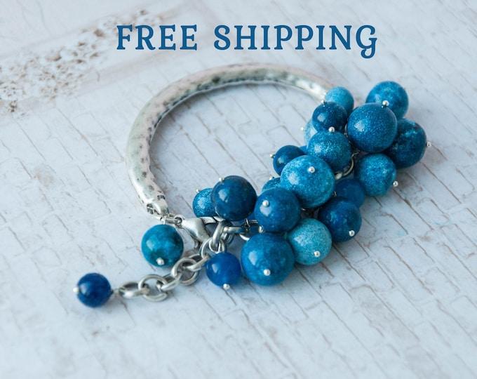 Bright blue bracelet, Something blue bracelet, Blue bridal jewelry, Boho blue bracelet, Celestial wedding, Celestial jewelry
