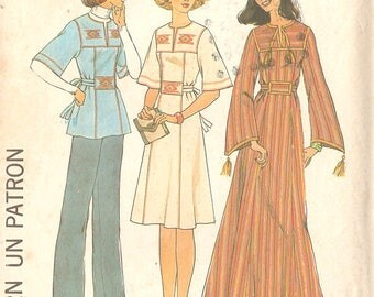 "Simplicity 7588 Misses' 70's Caftan Dress or Tunic Top, 70's Boho Chic Dress - Size 12-14 (Medium), Bust 34"" - 36"" - UNCUT"