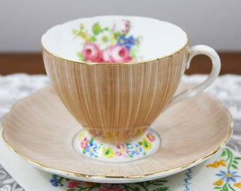 Vintage EB Foley Light Brown Brush Stroke English Bone China Teacup and Saucer Hand Painted - Floral Bouquet, Wedding Tea Party Favor