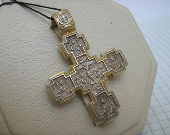 925 Sterling Silver Gold Plated Detailed Two-Sided Crucifixion CROSS Pendant Saint Nicetas' victory over the demon Sign of Gold Plating