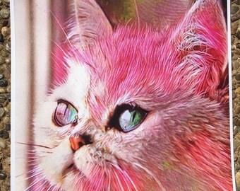 PINK KITTY graphic art print