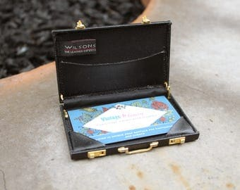 Vintage Wilson's Leather Mini Briefcase Business Card Holder // Miniature // Business Card Holder Black Leather