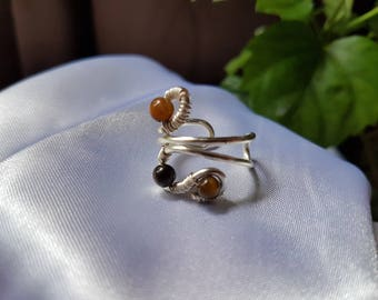 wire wrapped ring, adjustable ring, handmade ring