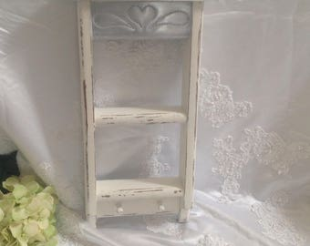 Hanging Wall Shelf With Pegs Wood White. Shabby Chic Wall Art Decor Key Holder Ladder Washboard Shelf