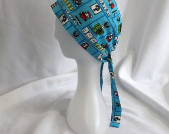 Super Mario Brothers 8-Bit Arcade Blue Surgical Scrub Cap Chemo Dental Hat