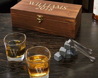 Schaefer Personalized Whiskey Stones and 6 oz Shot Glasses Gift Set | Perfect Holiday Gift for Executives, Bosses, Best Men, Groomsmen, Dad