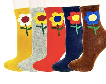 Art Socks,Sunflower Socks,Crew Socks,5 Colors, Artsy Women Socks, Gift for Women, Birthday, Stocking Stuffer