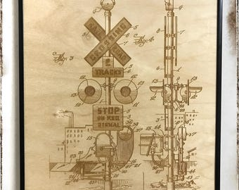Railroad Signal Patent, Railroad Crossing Gate Patent, Laser Cut Patent, Railroad Signal Blueprint