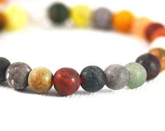 Semi-Precious Gemstone Mix Multi-Stone Strand Matte Round Large Hole Beads Strand 6mm