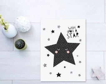 Wish upon a Star (Monochrome, Black, Silver, Grey) - Nursery Print - Children's Wall Art - Baby Nursery Decor - Moon and Stars - Polkadot