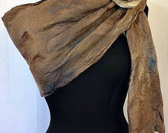 Brown Felted Scarf, Felted Wrap, Felted Shawl, Earth tone Scarf, Natural colored Shawl, Fall Fashion Accessories, Graceful Ewe Fiber Arts