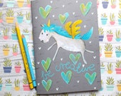 Hand painted Unicorn Sketchbook. Notebook. Original. Stationery. Notepad. A5 insert