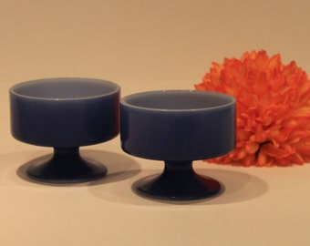 Set of 2 Federal Glass Dessert Bowls - Fired On Blue Footed Bowls -  Milk Glass Sherbet Bowls
