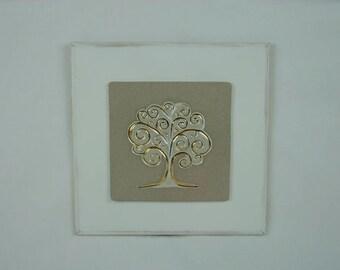 Porcelain plaque tree of life gold large