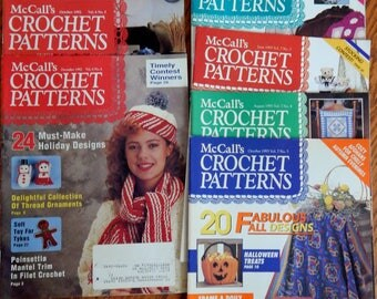 Vintage McCall's Crochet Patterns Magazines from 1992 and 1993 (8 magazines)