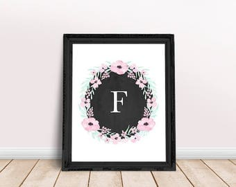 Baby Initial Decor F   Personalized Name, Floral Wreath Letter, Name Letter Poster, Initial, Floral Alphabet, Floral Letter, Fiona, Felicia