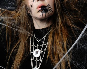 Spider necklace, spider web and Fly, one of a kind hand painted gothic necklace, gothic jewelry