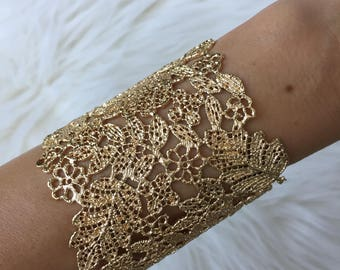 Gold or Silver Cuff Bracelet. Wide Floral Design Bohemian Cuff Bracelet. Large Bracelet. Adjustable.