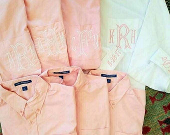 BRIDESMAIDS Oversized Monogrammed Button Down Shirts,monogrammed Oversized bridesmaids oxfords,Pink and White Bridesmaid Oxfords