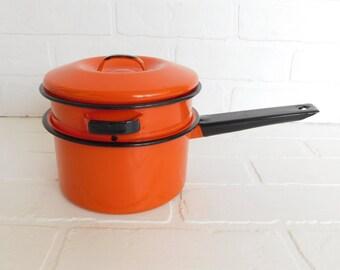 Vintage Orange and Black Enamel Double Boiler, Orange Enamelware Sauce Pan, Farmhouse Kitchen