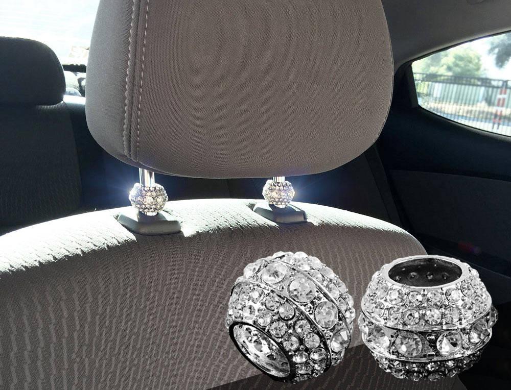 Icy Crystal Car Seat Headrest Collar Charms Rhinestone