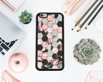 Geometric Iphone 7 case marble pattern case birthday gift cell phone case / maid of honor present / best friend gift / Valentines day OT95
