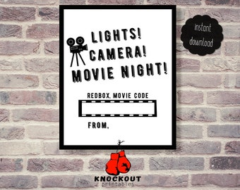 Lights, Camera, Movie Night Redbox® Gift Tag Printable - Red box Party Favor - Birthday Movie Nite card - Instant Digital Download
