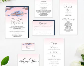 Blush Navy and Rose Gold Wedding Invitation, Rose Gold Foil, Handmade, Romantic, Modern, Watercolor, Beach, Summer