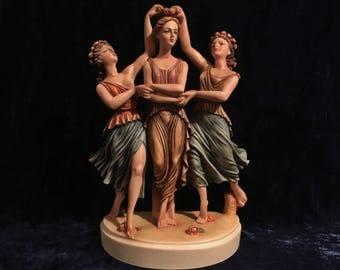 Vintage Hand Painted Three Graces Statue