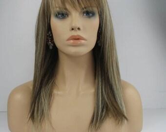 Golden Brown Ash Blonde and Light Blonde Mix  Straight  Medium Length Bob  with Bangs Premium Fibre Wig-